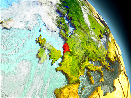 Netherlands in red on model of planet Earth with embossed countries and visible country borders. 3D illustration with clouds and reflective ocean waters.