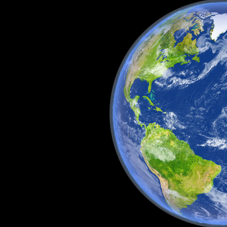americas: Satellite view of Americas on planet Earth. 3D illustration with detailed planet surface.