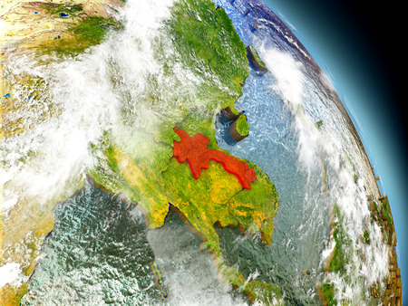 Laos in red on model of planet Earth with embossed countries and visible country borders. 3D illustration with clouds and reflective ocean waters.