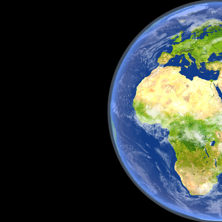 Satellite view of Europe and Africa on planet Earth. 3D illustration with detailed planet surface.