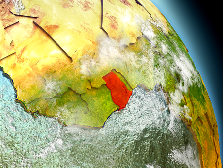 Ghana in red on model of planet Earth with embossed countries and visible country borders. 3D illustration with clouds and reflective ocean waters. Stock Photo