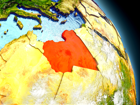 visible: Libya in red on model of planet Earth with embossed countries and visible country borders. 3D illustration with clouds and reflective ocean waters.