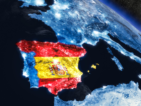 embedded: Spain with embedded national flag at night from space. 3D illustration with detailed planet surface and visible city lights. Stock Photo