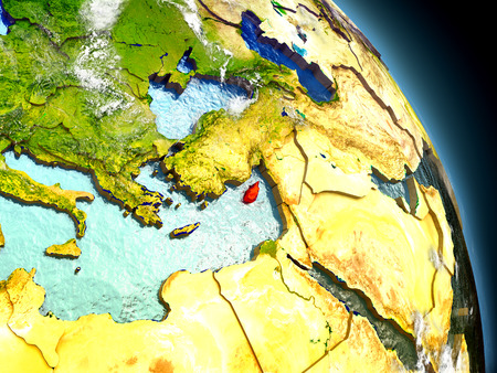 Cyprus in red on model of planet Earth with embossed countries and visible country borders. 3D illustration with clouds and reflective ocean waters.