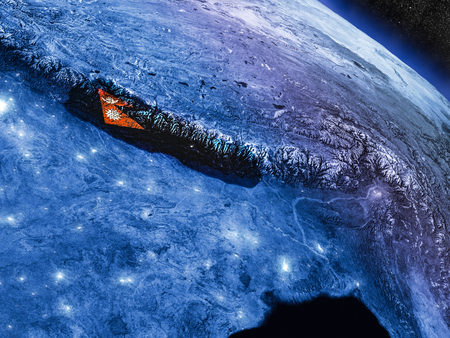 Nepal with embedded national flag at night from space. 3D illustration with detailed planet surface and visible city lights.