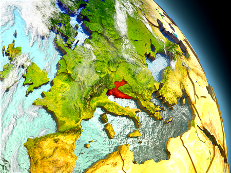 Croatia in red on model of planet Earth with embossed countries and visible country borders. 3D illustration with clouds and reflective ocean waters. Stock Photo