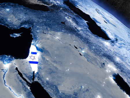 flag: Israel with embedded national flag at night from space. 3D illustration with detailed planet surface and visible city lights.