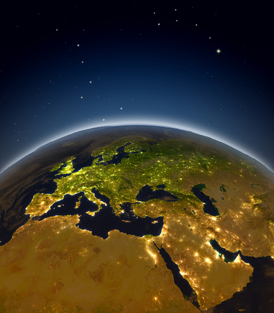 EMEA region at night from Earths orbit in space. 3D illustration with detailed planet surface and city lights.