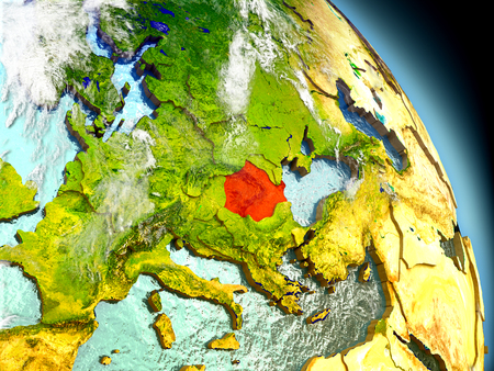 Romania in red on model of planet Earth with embossed countries and visible country borders. 3D illustration with clouds and reflective ocean waters. Stock Photo