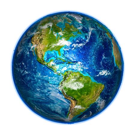 地球の詳細なモデルにアメリカ。3 D の図は、白い背景で隔離。