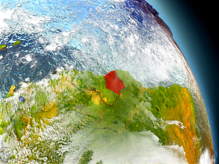 visible: Suriname in red on model of planet Earth with embossed countries and visible country borders. 3D illustration with clouds and reflective ocean waters.