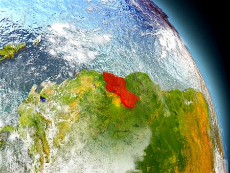 guyanese: Guyana in red on model of planet Earth with embossed countries and visible country borders. 3D illustration with clouds and reflective ocean waters.