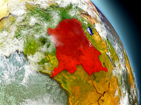 Democratic Republic of Congo in red on model of planet Earth with embossed countries and visible country borders. 3D illustration with clouds and reflective ocean waters. Stock Photo