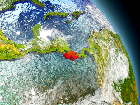Costa Rica in red on model of planet Earth with embossed countries and visible country borders. 3D illustration with clouds and reflective ocean waters.