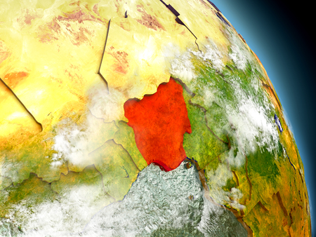 country nigeria: Nigeria in red on model of planet Earth with embossed countries and visible country borders. 3D illustration with clouds and reflective ocean waters. Stock Photo