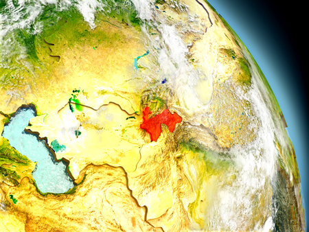 visible: Tajikistan in red on model of planet Earth with embossed countries and visible country borders. 3D illustration with clouds and reflective ocean waters.