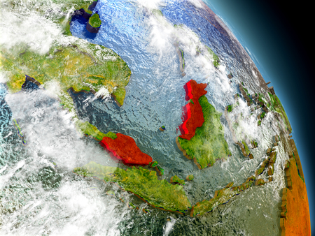 visible: Malaysia in red on model of planet Earth with embossed countries and visible country borders. 3D illustration with clouds and reflective ocean waters. Stock Photo