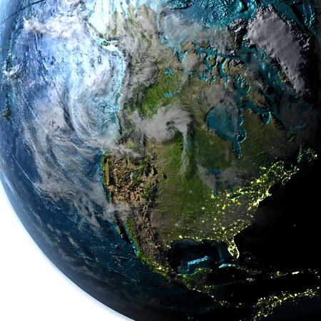 continente americano: North America on planet Earth with evening light. 3D illustration with detailed planet surface, atmosphere and city lights.