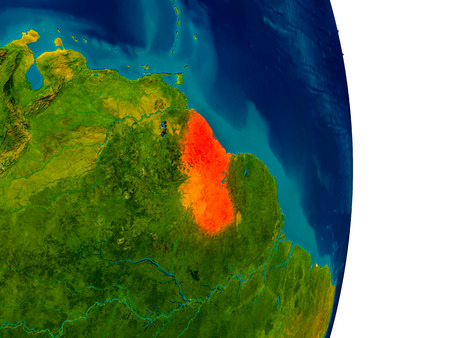 Guyana highlighted in red on detailed model of planet Earth. 3D illustration. Stock Photo