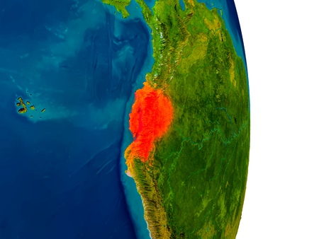 Ecuador highlighted in red on detailed model of planet Earth. 3D illustration. Stock Photo