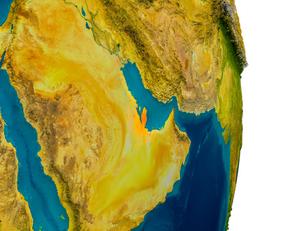 Qatar highlighted in red on detailed model of planet Earth. 3D illustration. Stock Illustration - 76761195