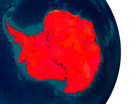 Antarctica highlighted in red on detailed model of planet Earth. 3D illustration.