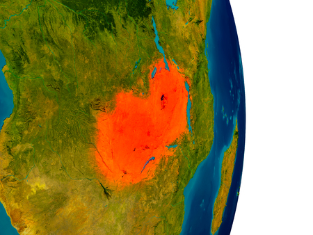 Zambia highlighted in red on detailed model of planet Earth. 3D illustration. Stock Photo