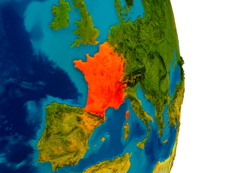 France highlighted in red on detailed model of planet Earth. 3D illustration.