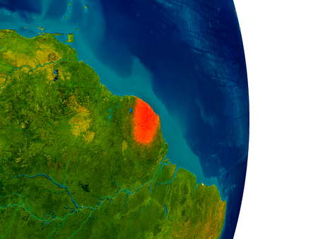 guiana: French Guiana highlighted in red on detailed model of planet Earth. 3D illustration.