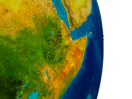 Ethiopia highlighted in red on detailed model of planet Earth. 3D illustration.