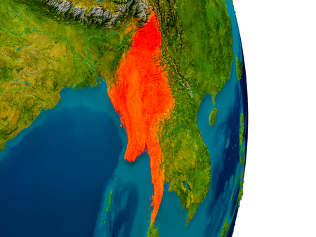 physical geography: Myanmar highlighted in red on detailed model of planet Earth. 3D illustration.
