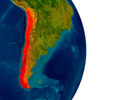chilean: Chile highlighted in red on detailed model of planet Earth. 3D illustration.