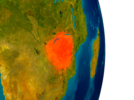 Zimbabwe highlighted in red on detailed model of planet Earth. 3D illustration.