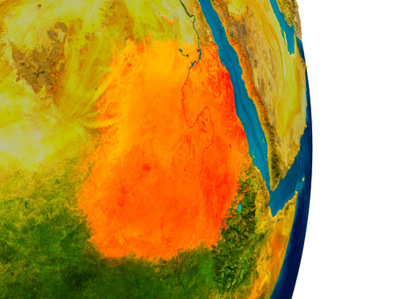 Sudan highlighted in red on detailed model of planet Earth. 3D illustration.