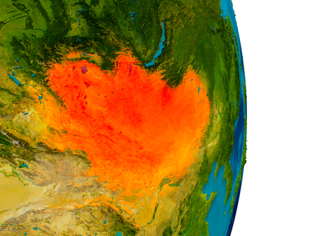 Mongolia highlighted in red on detailed model of planet Earth. 3D illustration.