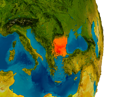 Bulgaria highlighted in red on detailed model of planet Earth. 3D illustration.