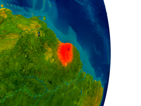 Suriname highlighted in red on detailed model of planet Earth. 3D illustration. Stock Photo
