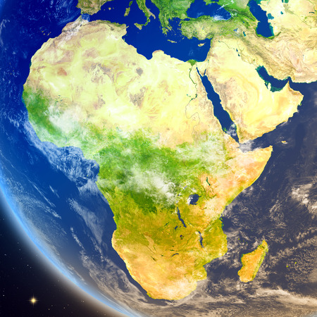 continente africano: Satellite view of Africa on planet Earth. 3D illustration with detailed planet surface. Foto de archivo