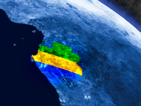 Gabon with embedded national flag at night from space. 3D illustration with detailed planet surface and visible city lights.