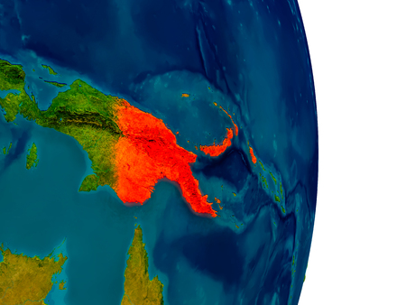 Nuova Guinea: Papua New Guinea highlighted in red on detailed model of planet Earth. 3D illustration.