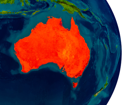 Australia highlighted in red on detailed model of planet Earth. 3D illustration.