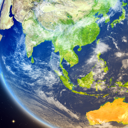 Satellite view of Southeast Asia on planet Earth. 3D illustration with detailed planet surface.