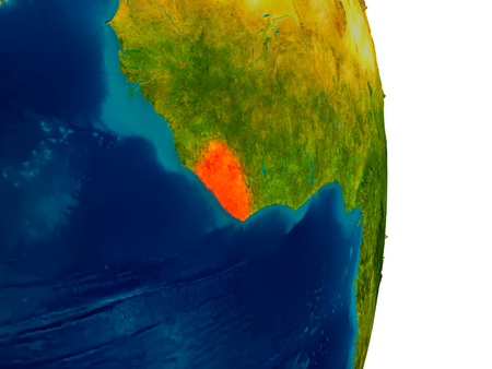 Liberia highlighted in red on detailed model of planet Earth. 3D illustration.