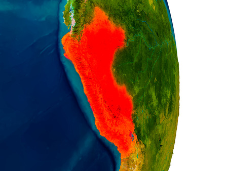 Peru highlighted in red on detailed model of planet Earth. 3D illustration. Stock Photo