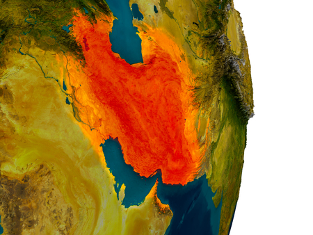 Iran highlighted in red on detailed model of planet Earth. 3D illustration.