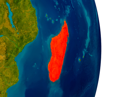 Madagascar highlighted in red on detailed model of planet Earth. 3D illustration.