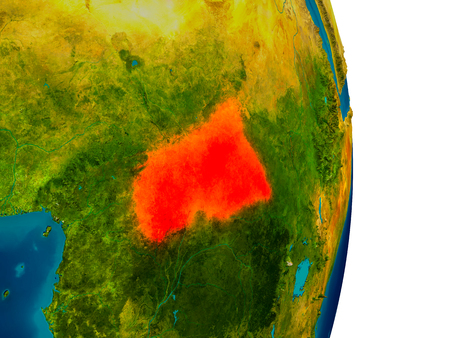 Central Africa highlighted in red on detailed model of planet Earth. 3D illustration. Stock Photo