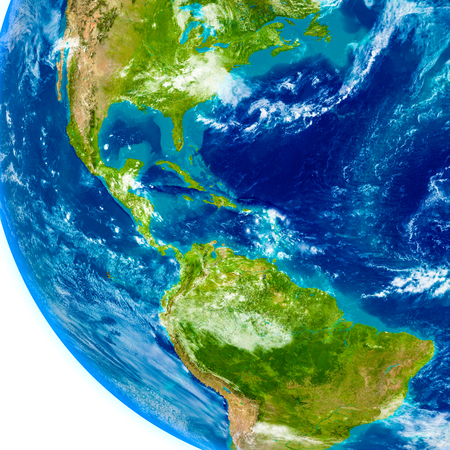 Central America on physical model of Earth. 3D illustration with detailed planet surface.