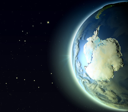antarctic: Antarctic from Earths orbit. 3D illustration with detailed planet surface, atmosphere and city lights.