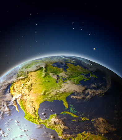 Central and North America from Earths orbit. 3D illustration with detailed planet surface, atmosphere and city lights.